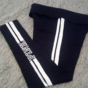 NWOT Black and White Yoga Leggings w Side Stripes